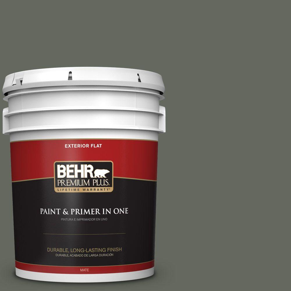 BEHR Premium Plus 5-gal. #ECC-41-3 Laurel Oak Flat Exterior Paint