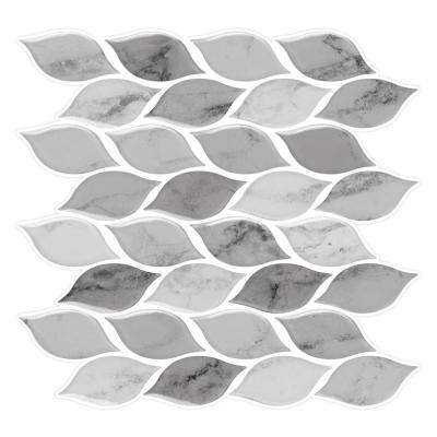 Foglia Grigio 10 in. W x 10 in. H Gray Peel and Stick Decorative Mosaic Wall Tile Backsplash (6-Tiles)