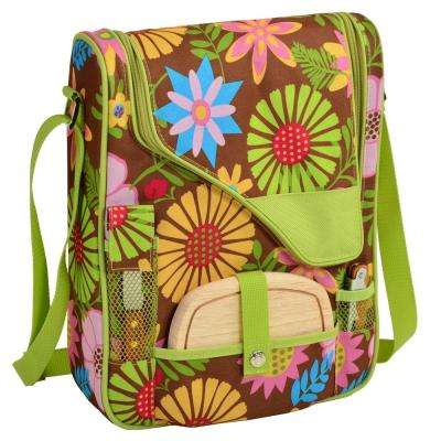 Floral Wine and Cheese Cooler Bag with Glasses for 2