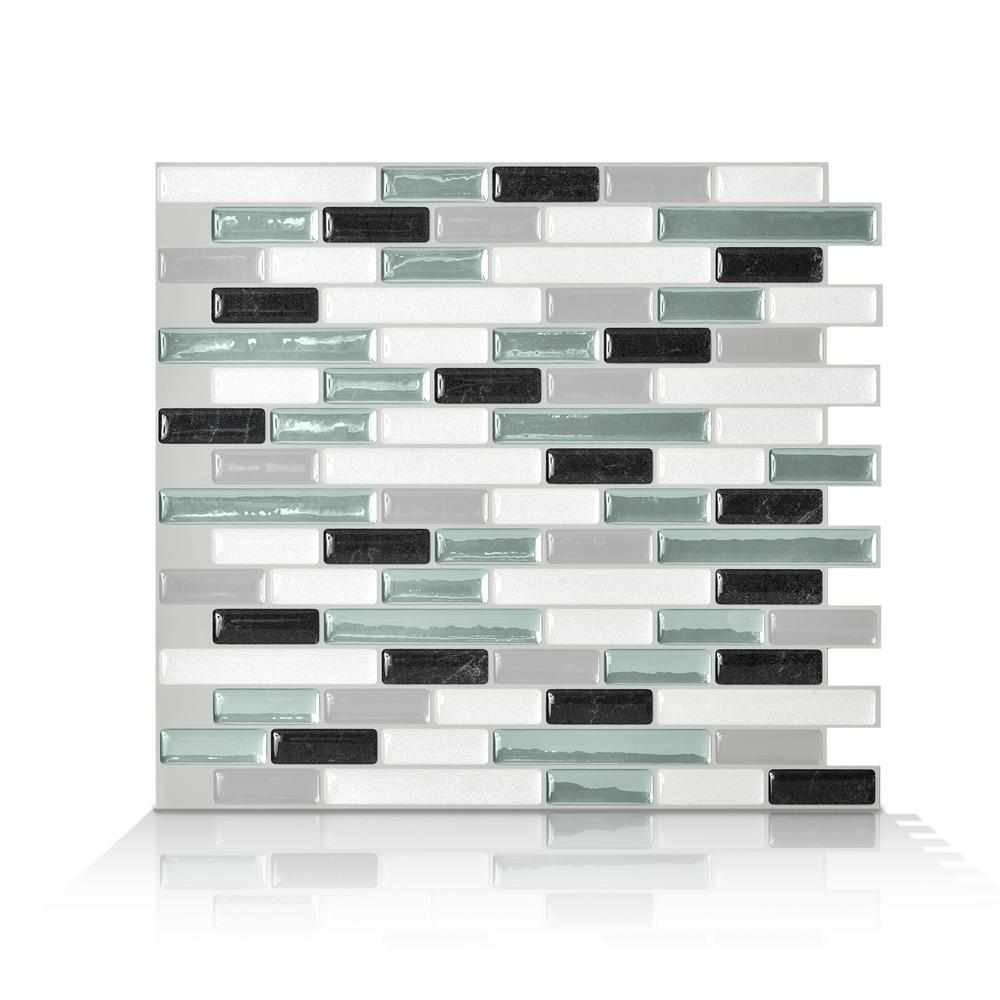 smart tiles muretto prairies in x in green peel and stick self adhesive decorative. Black Bedroom Furniture Sets. Home Design Ideas