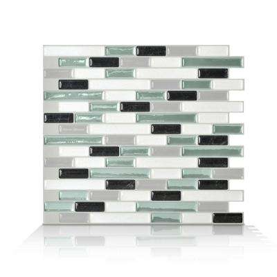 Muretto Prairies Grey 10.25 in. x 9.125 in. Mosaic Peel and Stick Self-Adhesive Decorative Wall Tile in Green (6-Pack)