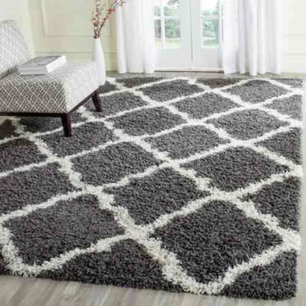Safavieh Dallas Shag Dark Gray Ivory 8 Ft X 10 Ft Area