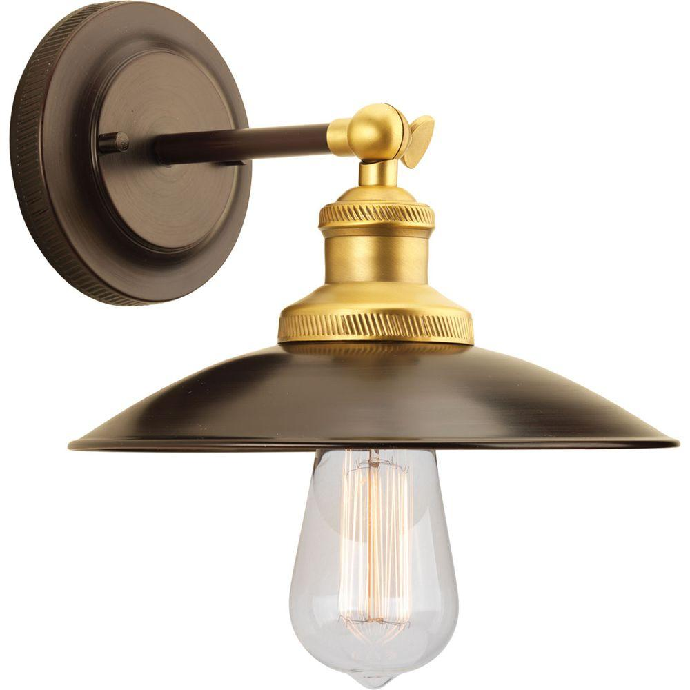 Progress Lighting Archives Collection 1 Light Antique Bronze Wall Sconce With Metal Shade
