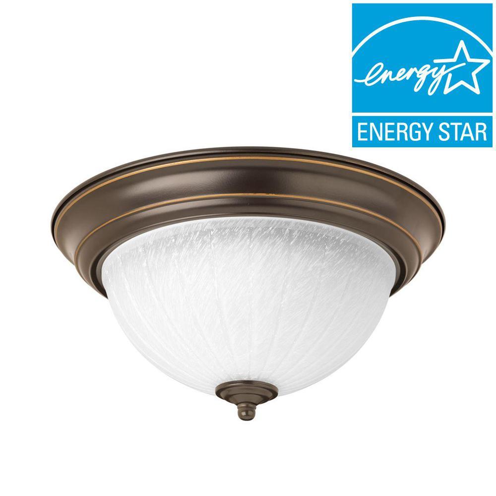 11.38 in. 1-Light Antique Bronze Integrated LED Flushmount