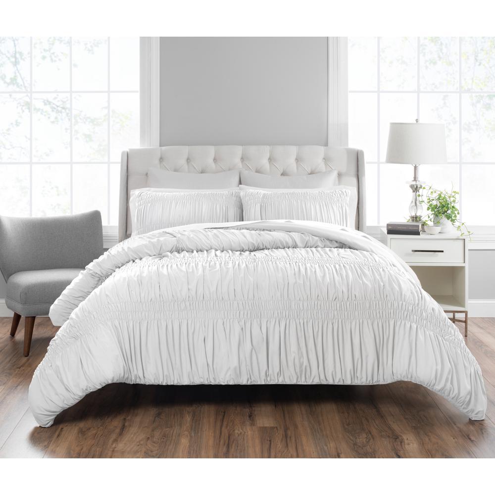 Nicole Miller Francesca 3-Piece Technique White Queen Comforter Set Q-NMFRC-105