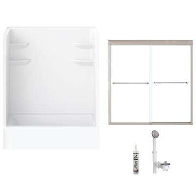 60 in. x 32 in. x 79 in. Bath and Shower Kit with Right-Hand Drain and Door in White and Brushed Nickel Hardware