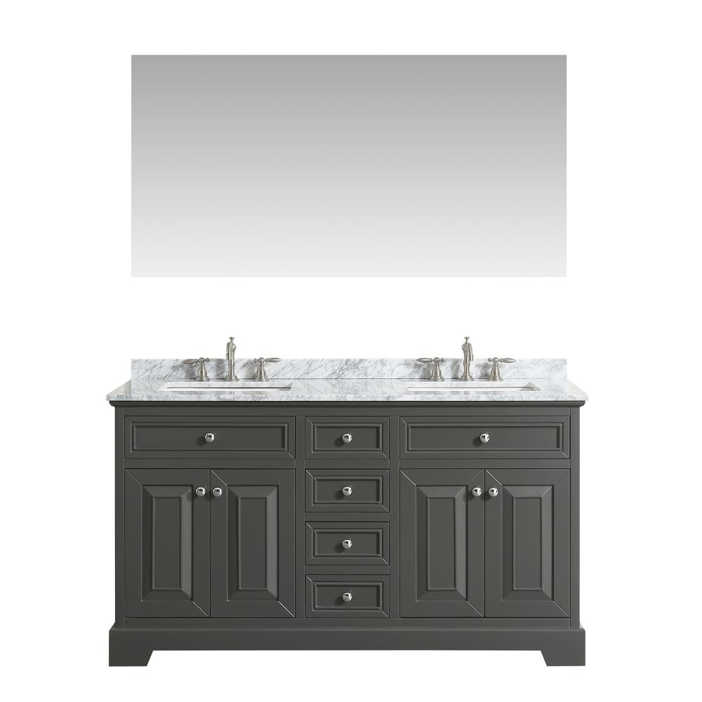 Eviva Monroe 60 in. W x 22 in. D x 34 in. H Vanity in Gray with Carrera Marble Vanity Top in White with White Double Basin