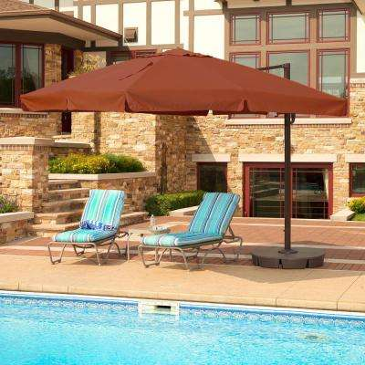 Santorini II 10 ft. Square Cantilever with Valance Patio Umbrella in Terra Cotta Sunbrella Acrylic