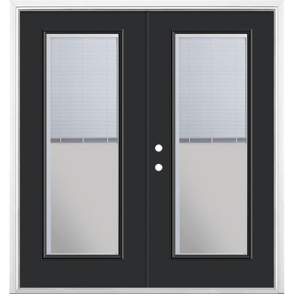 Masonite 72 in. x 80 in. Jet Black Steel Prehung Right-Hand Inswing Mini Blind Patio Door with Brickmold