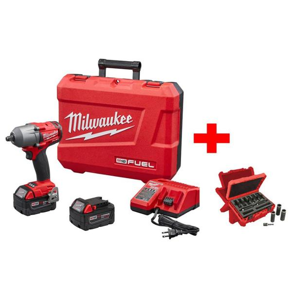 M18 FUEL 18-Volt Lithium-Ion Brushless 1/2 in. Mid Torque Impact Wrench With Friction Ring Kit with Socket Set (9-Piece)