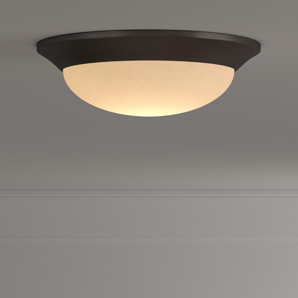 Hampton Bay 12 7 In 120 Watt Equivalent Oil Rubbed Bronze Integrated Led Flush Mount With Etched Linen Gl Shade