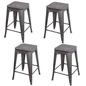 Loft Style 24 in. Black Metal Bar Stool with Dark Elm Wood Seat (Set of 4)
