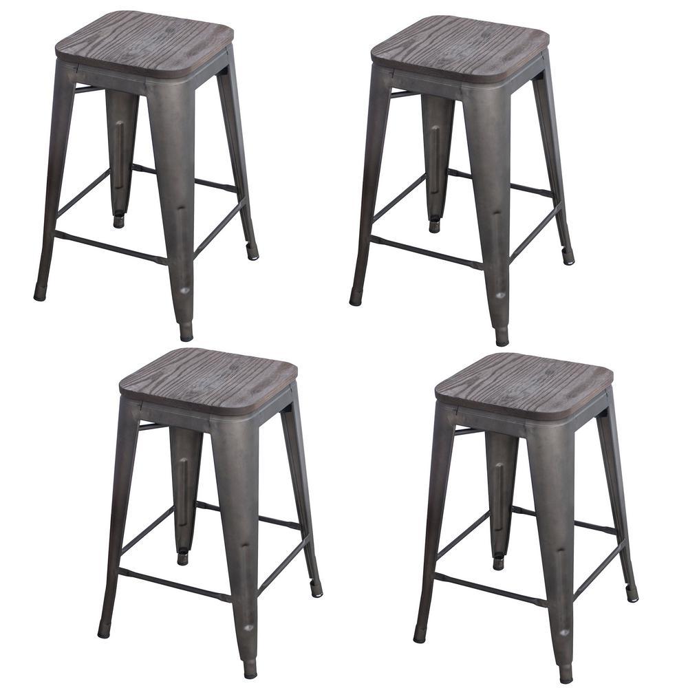 Loft Style 24 in. Black Metal Bar Stool with Dark Elm Wood Seat (Set of 4)