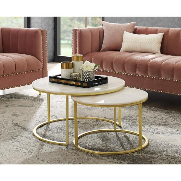 Inspired Home Marley Gold Coffee Table With Natural Marble Top