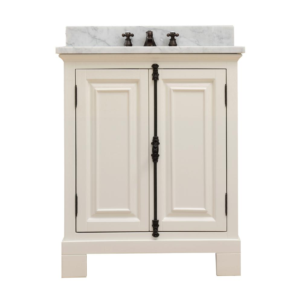 Water Creation Greenwich 30 in. W x 22 in. D Vanity in Antique White with Marble Vanity Top in White with White Basin and Faucet
