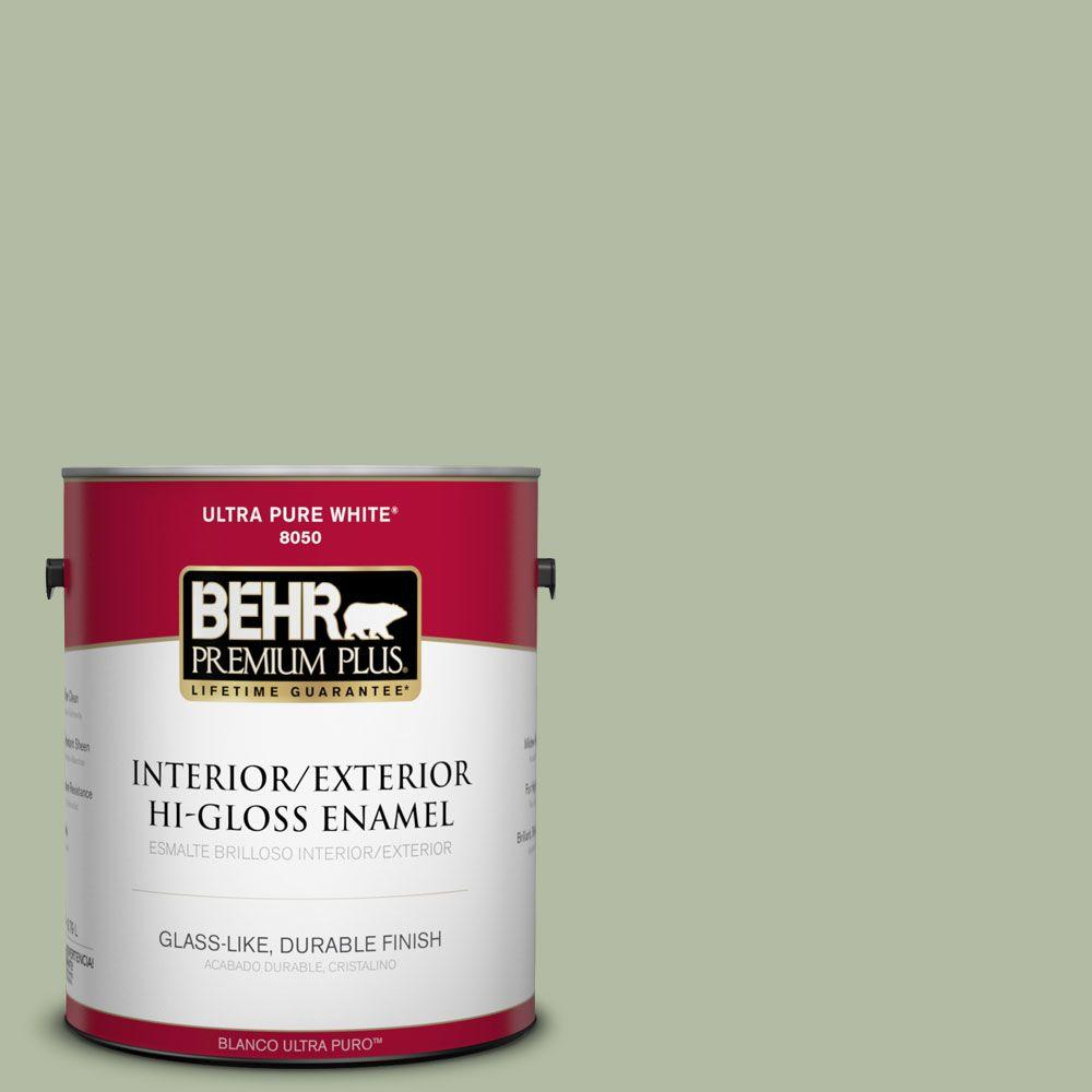 BEHR Premium Plus 1-gal. #ICC-105 Dried Chervil Hi-Gloss Enamel Interior/Exterior Paint