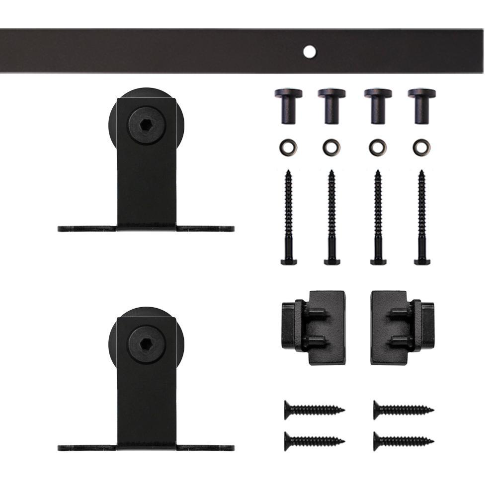 Black Top Mount Rolling Single Furniture Door Kit with 5 ft. Rail