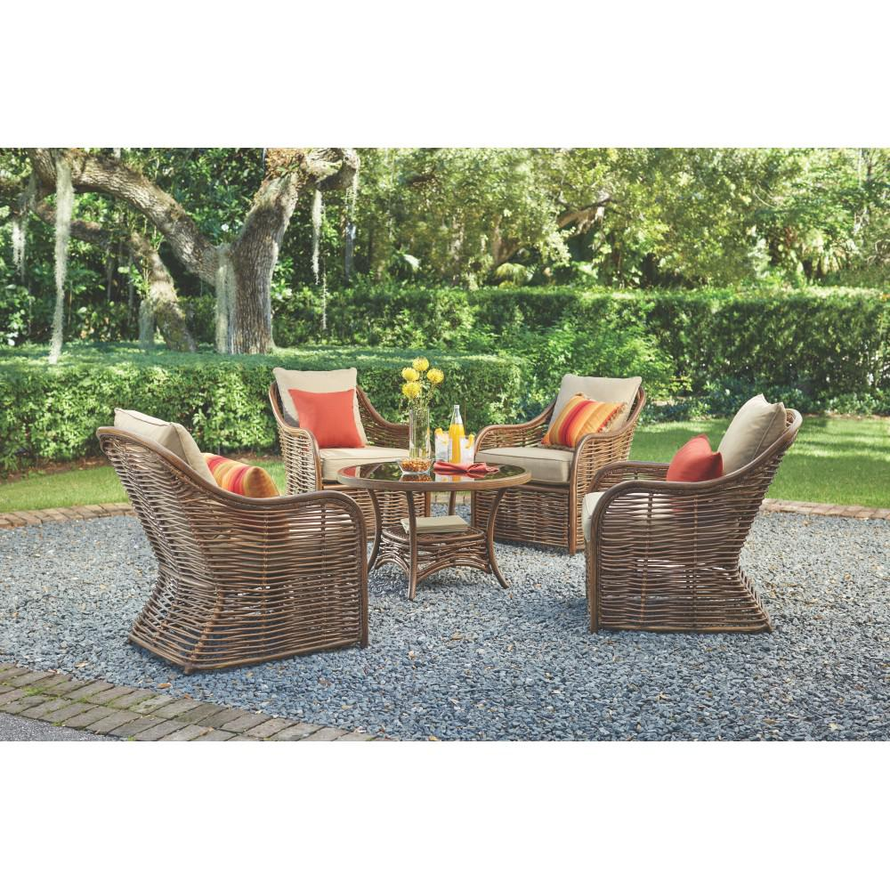 Port Elizabeth 5 Piece All Weathered Metal Patio Conversation Set With  Brown Cushions