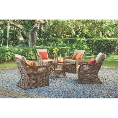 Port Elizabeth 5-Piece All-Weathered Metal Patio Conversation Set with Brown Cushions