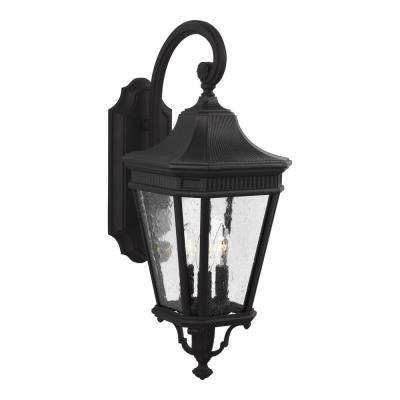 Cotswold Lane 9.5 in. W.  3-Light Black Outdoor Wall Mount Lantern