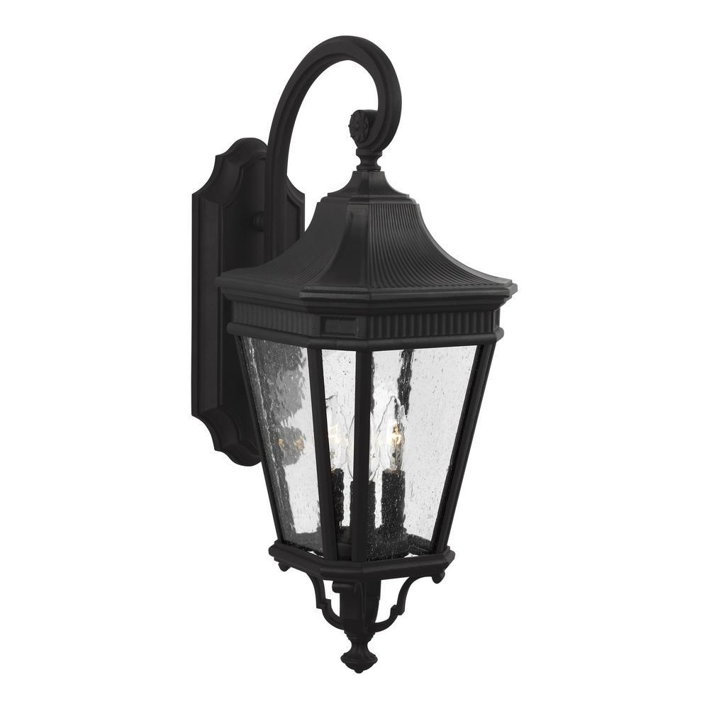 Cotswold Lane 9.5 in. W. 3-Light Black Outdoor 23.75 in. Wall Lantern Sconce