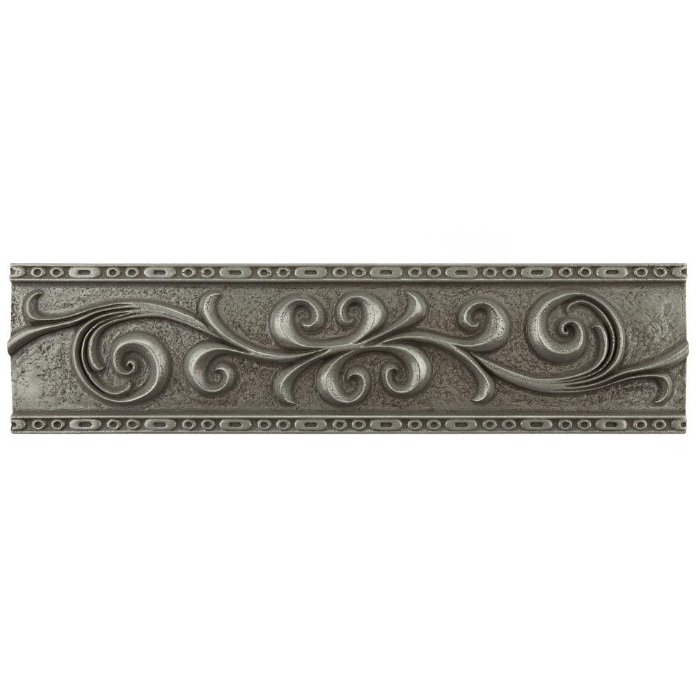 Merola Tile Contempo Pewter Scroll Liner 3 in. x 12 in. Mixed Material Wall Trim Tile