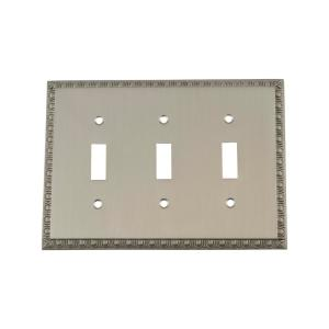 Nostalgic Warehouse Egg and Dart Switch Plate with Triple Toggle in Satin Nickel by Nostalgic Warehouse