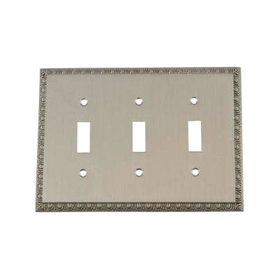 Egg and Dart Switch Plate with Triple Toggle in Satin Nickel