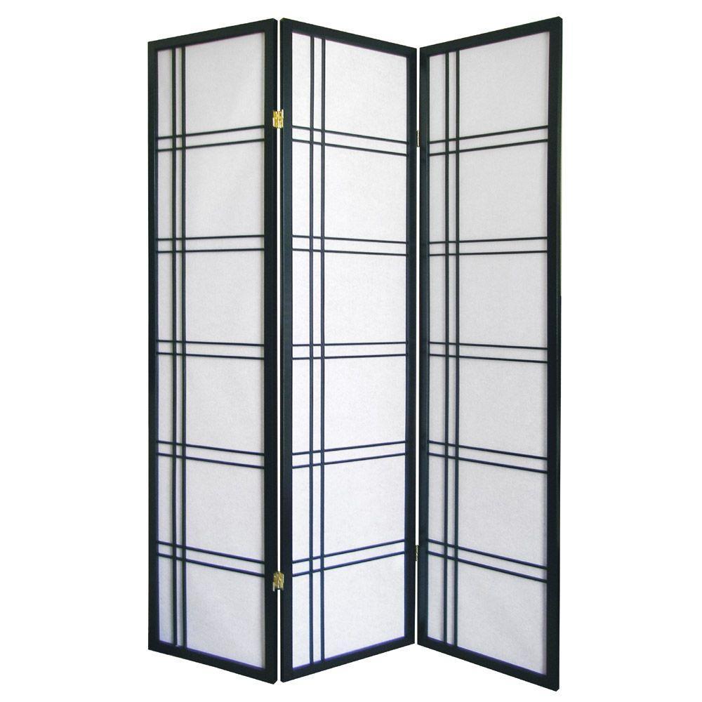 Girard 5.83 ft. Black 3-Panel Room Divider