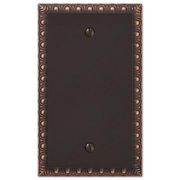 Antiquity 1 Gang Blank Metal Wall Plate - Aged Bronze