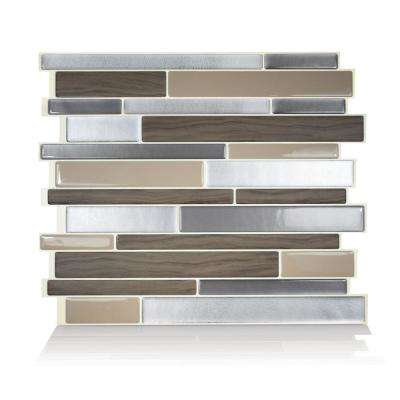 Milano Lino Brown 11.55 in. W x 9.63 in. H Peel and Stick Self-Adhesive Decorative Mosaic Wall Tile Backsplash (6-Pack)