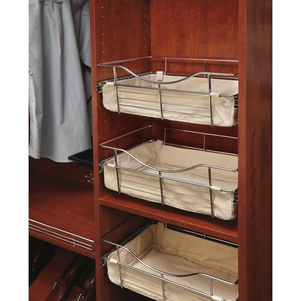 Rev-A-Shelf 18 in. x 18 in. Tan Closet Basket Liner Rev-A-Shelf Closet basket liners are just the finishing touch your basket needs. Simply Velcro your liner into your bag and you are ready to use. Perfect for keeping small items from slipping thru the wires. Color: Tan.