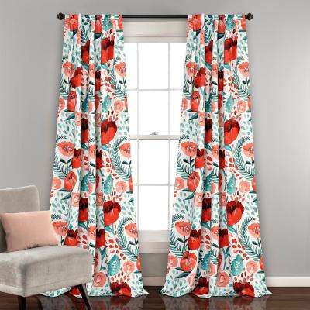 "Poppy Garden Window Panels Multi 84"" x 52"" 2-Pc Set 100% Polyester"