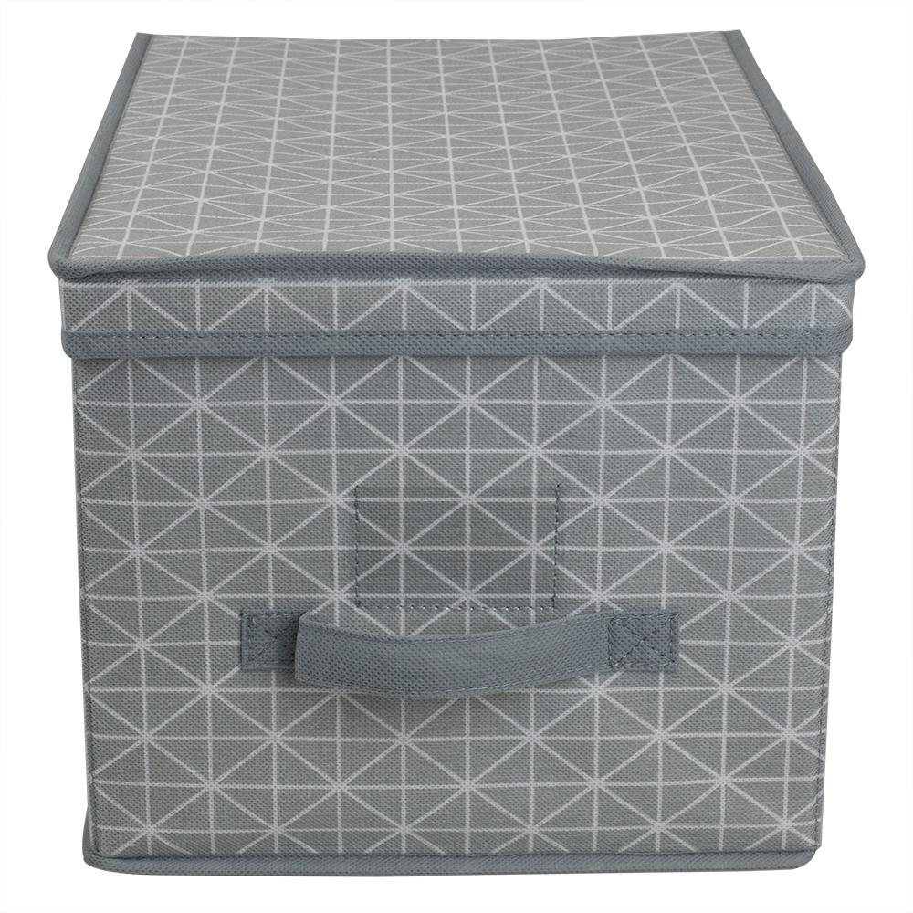 Home Basics Diamond Collection 16 in. x 10 in. Grey Non-Woven Bin
