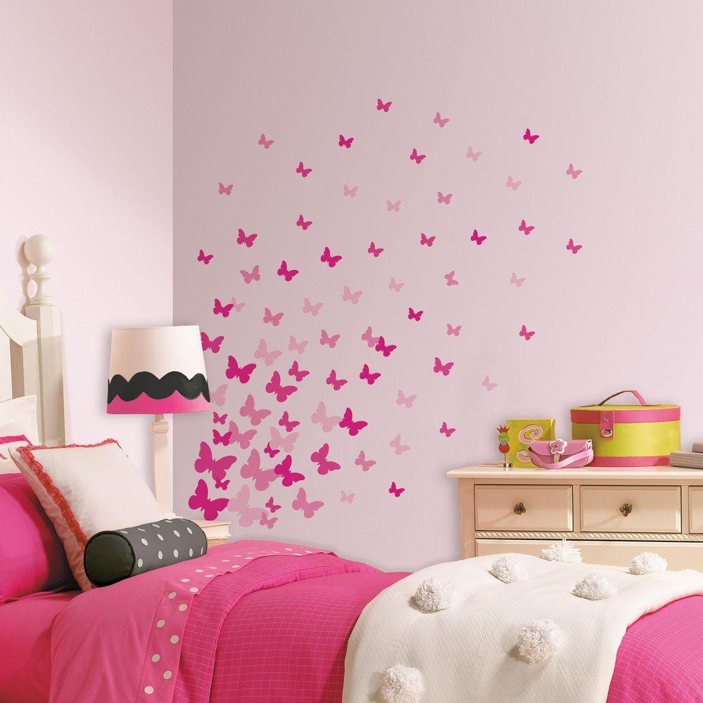 RoomMates 5 in. x 11.5 in. Pink Flutter Butterflies 75-Piece Peel and Stick Wall Decal