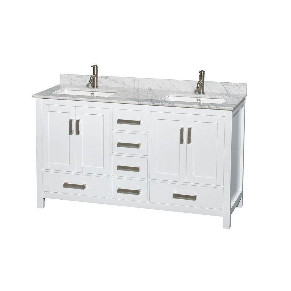Sheffield 60 in. Double Vanity in White with Marble Vanity Top