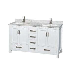 Wyndham Collection Sheffield 60 inch Double Vanity in White with Marble Vanity Top in Carrara White by Wyndham Collection