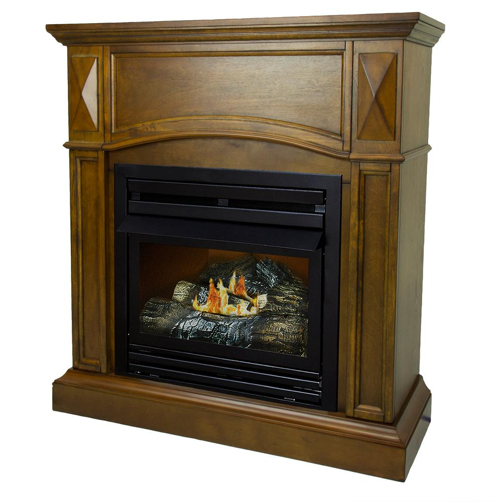 Pleasant Hearth 20,000 BTU 36 in. Compact Convertible Ventless Natural Gas Fireplace in Heritage