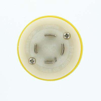 30 Amp 480-Volt 3-Phase Wetguard Locking Grounding Plug, Yellow/White