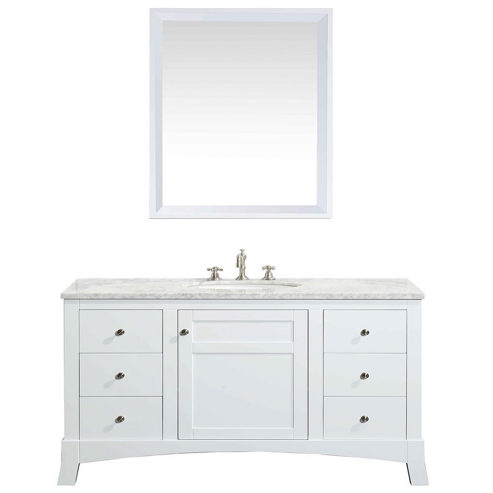 New York 42 in. W x 21.6 in. D x 32.6 in. H Vanity in White with Carrara Marble Vanity Top in White with White Basin