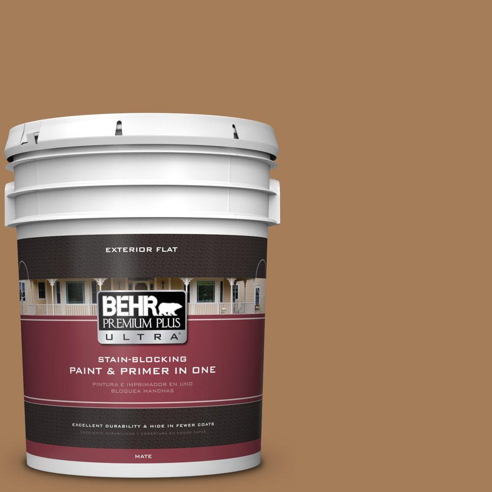 BEHR Premium Plus Ultra 5-gal. #270F-6 Fudge Truffle Flat Exterior Paint