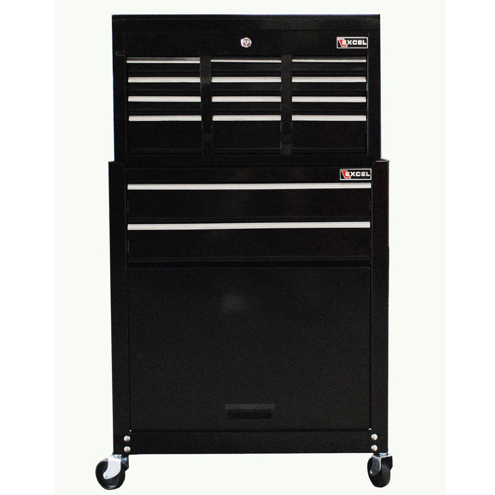 Excel 24 in. W x 13 in. D x 42.6 in. H 8-Drawer Tool Chest and Roller Cabinet Combination, Black