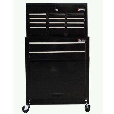 24 in. W x 13 in. D x 42.6 in. H 8-Drawer Tool Chest and Roller Cabinet Combination, Black