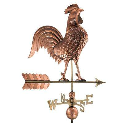 Large Rooster Weathervane - Pure Copper