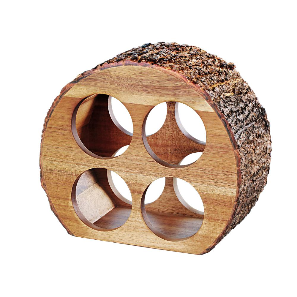 4 Bottle Acacia Wood Countertop Wine Rack with Natural Bark