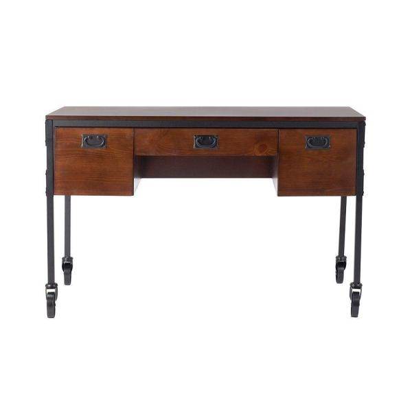 53.5 in. Brown Rectangular 3 -Drawer Writing Desk with Wheels