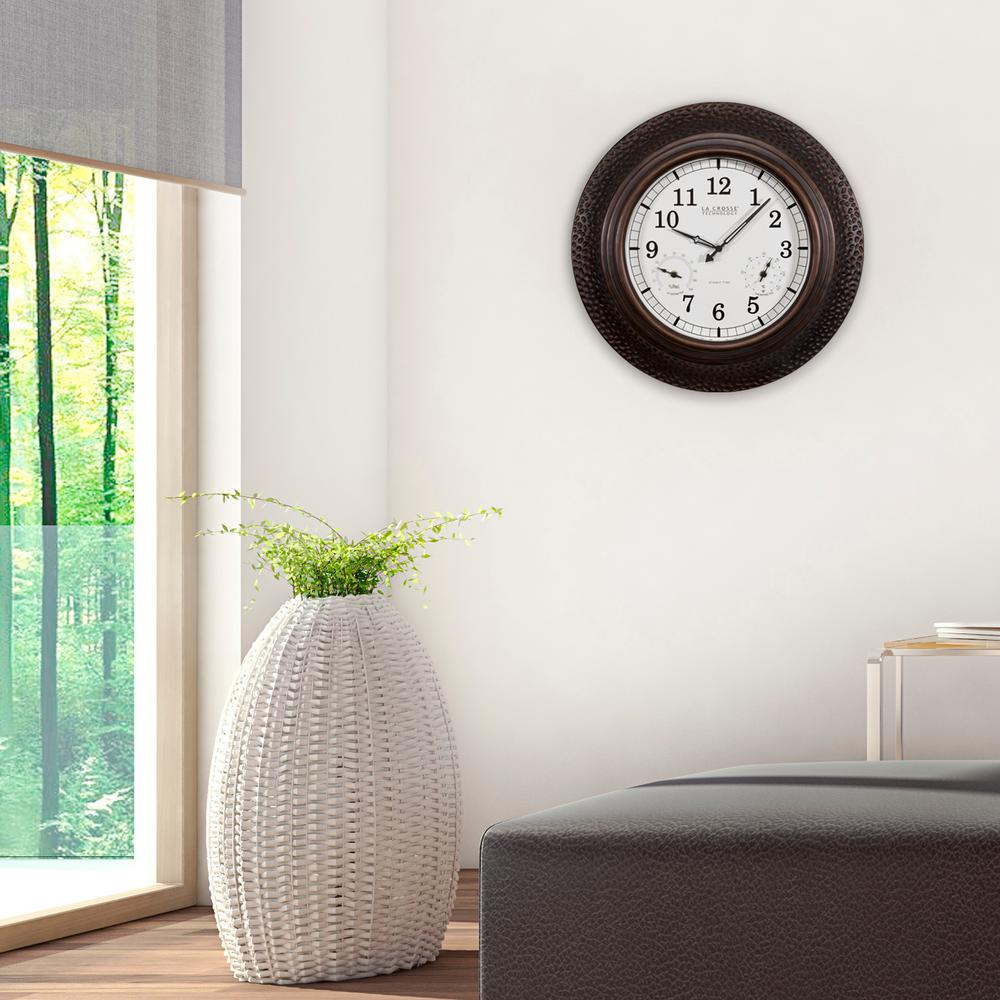 La crosse technology 22 in round polyresin atomic analog wall round polyresin atomic analog wall clock with temperature and humidity amipublicfo Choice Image