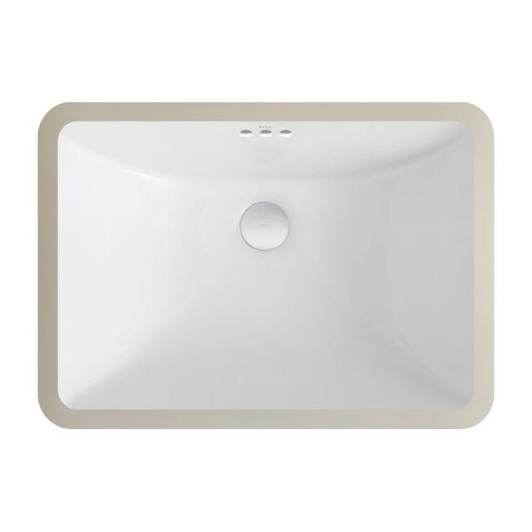 Kraus Elavo Large Rectangular Ceramic Undermount Bathroom Sink In White With Overflow Kcu 251 The Home Depot