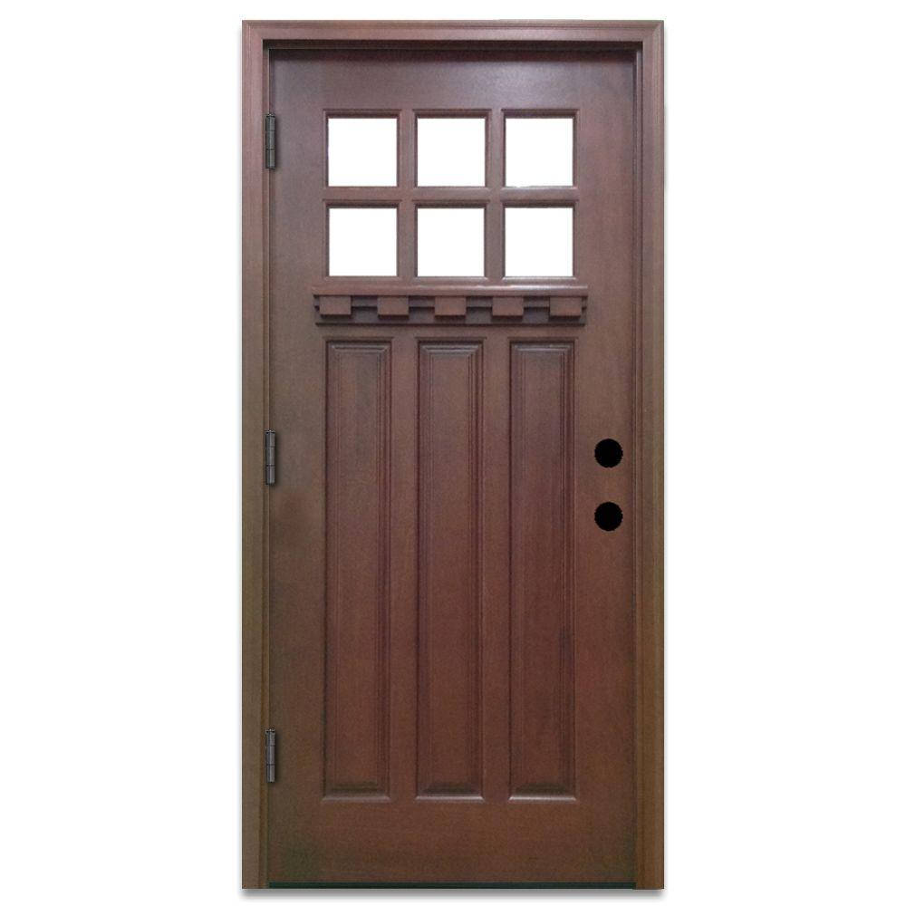 Steves U0026 Sons 32 In. X 80 In. Craftsman 6 Lite Stained Mahogany Wood  Prehung Front Door M3306 2 CT MJ 6ORH   The Home Depot