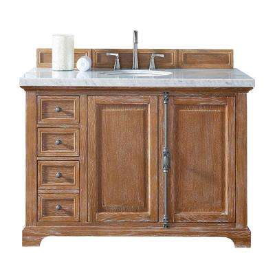 Providence 48 in. W Single Vanity in Driftwood with Marble Vanity Top in Carrara White with White Basin